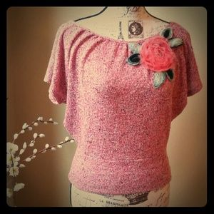Popsy Statement Knitted Top with Flower Detail
